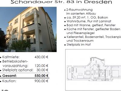 Attraktive 2-Raum-Miet-Wohnung inkl. Küche in guter Lage / Dresden - Strießen ab sofort